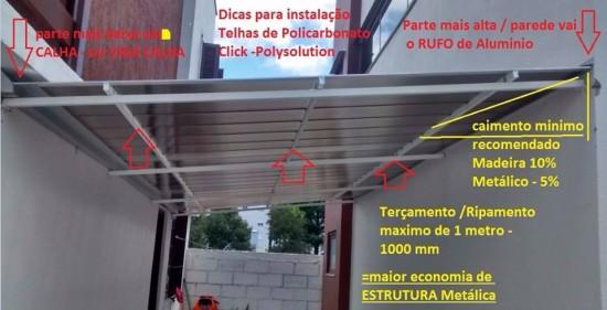 Detalhes tecnicos de como instalar com eficiencia tecnica as telhas de Policarbonato Click