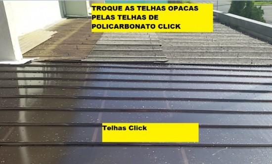 Comparação das telhas de Policarbonato click(NOVAS e Modernas) com telhas onduladas em Fibrocimento -