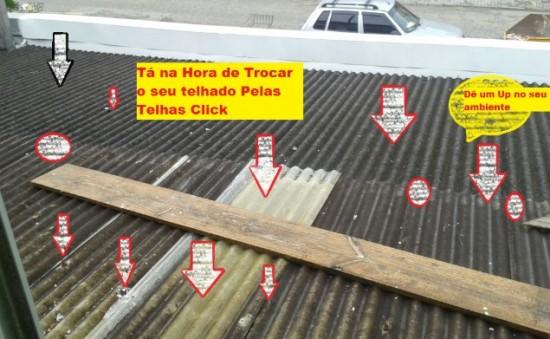 Comparação das telhas de Policarbonato click(NOVAS e Modernas) com telhas onduladas em Fibrocimento - troca agora