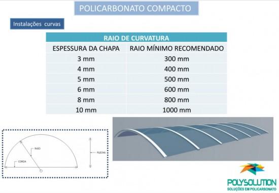 Especificações tecnicas da chapa de Policarbonato compacta raio e vão livre Polysolution