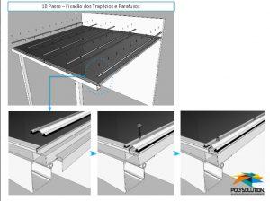 Perfil de aluminio Resolve PC-5038 e Calha Estrutural PC4412 com Policarbonato Alveolar e Vidro- ajustavel e regulável Polysolution