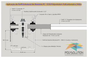 Perfil de aluminio Estrutural PC 5550 Policarbonato alveolar 10 mm bi-camera Polysolution