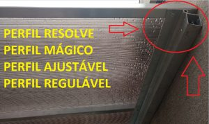 Perfil de aluminio Resolve PC-5038 e Calha Estrutural PC4412 com Policarbonato Alveolar e Vidro- ajustavel e regulável Polysolution