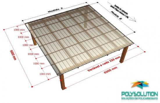 Kit Click para um pergolado de madeira de 6 x 6 metros - telhas de Policarbonato click e todos os acessórios de fixação e vedação Polysolution