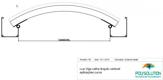 Sistema estrutural em arco - Perfil de aluminio curvado e chapas de Policarbonato - perfil viga calha PC 4412