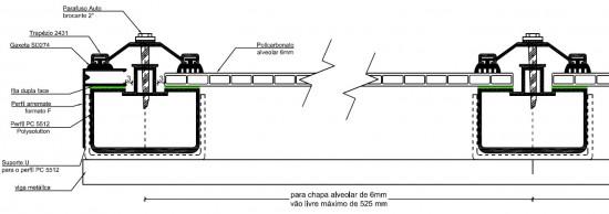 Sistema completo Policarbonato alveolar, Perfis de aluminio e acessórios de fixação Polysolution