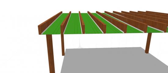 pergolado madeira e perfil F entre pergulas