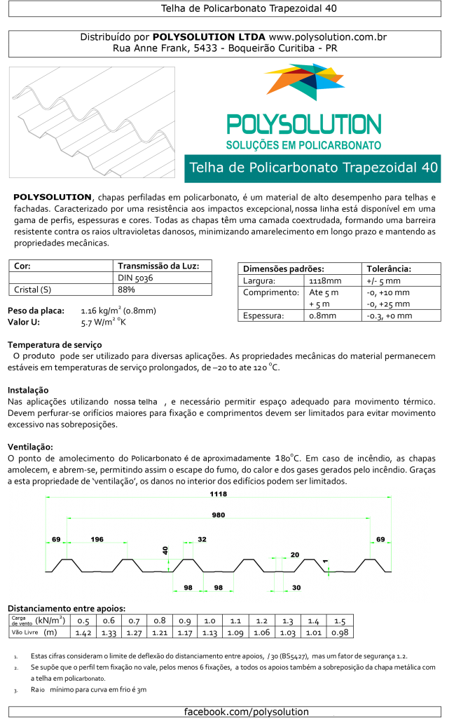 Telha De Policarbonato trapezoidal 40 mm - Polysolution