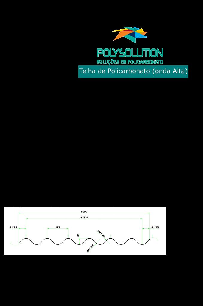 Telha de Policarbonato ondulada Onda alta Polysolution 1100x 5800 mm