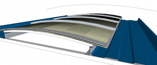 Domus de Iluminação Natural em Policarbonato - Sistema Ba rodeca - Multi function 600 mm + Aluminio