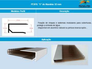 Perfil de aluminio união - NOVO - Formato U 10 mm x 6 metros - Polysolution