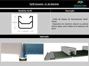 Perfis de Aluminio U conector para Multi painel Policarbonato - Polysolution