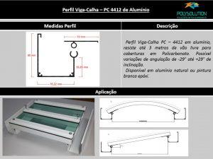 Perfis de Aluminio Viga-Calha PC 4412 Estrutural para Policarbonato - Polysolution