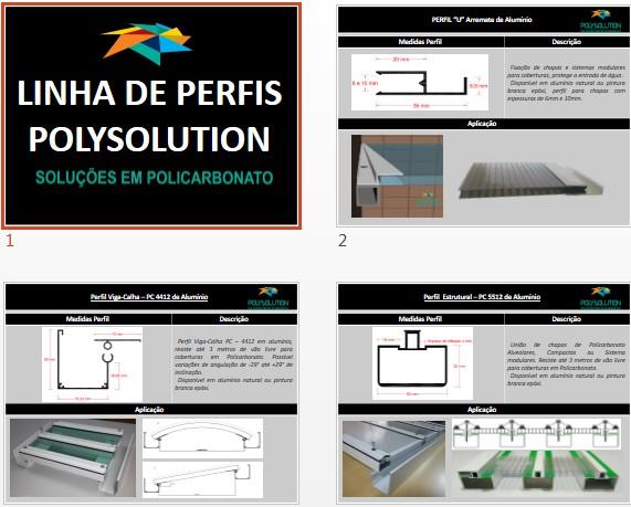 Perfis de Aluminio para Instalação , união e fixação de coberturas e Policarbonato - linha Polysolution
