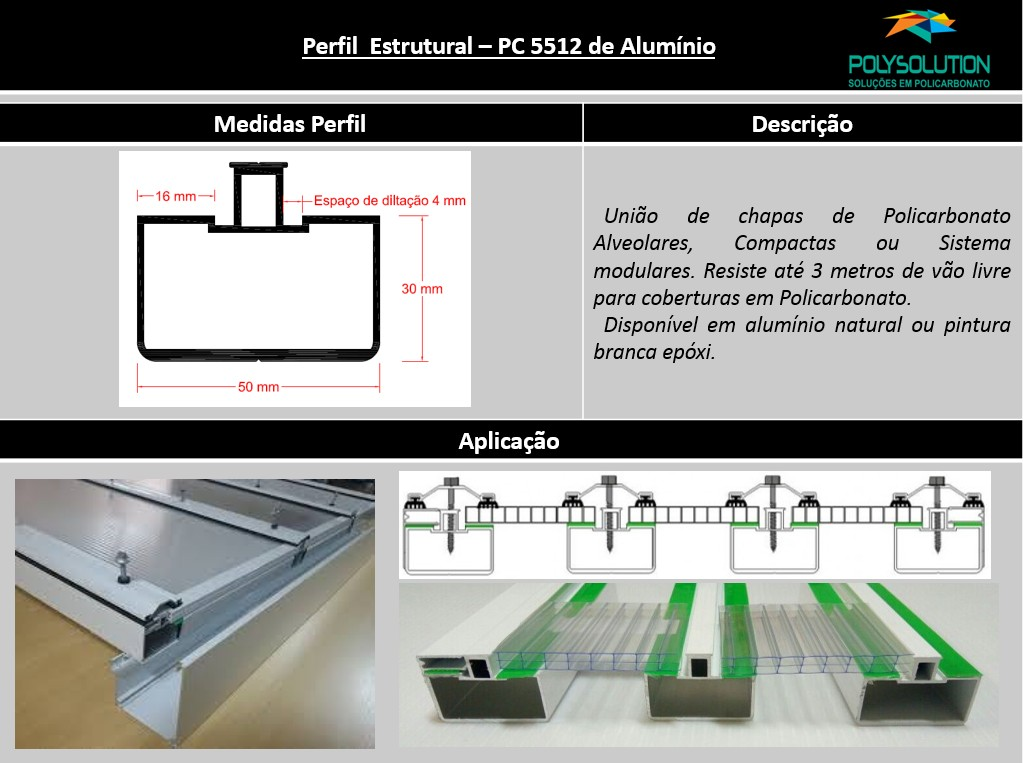 Perfil de Aluminio estrutural PC 5512 para Policarbonato - Polysolution