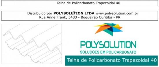 Telha de Policarbonato Trapezoidal TRA 40 Polysolution