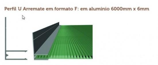 Perfil Arremate em Aluminio formato F 6mm - Polysolution