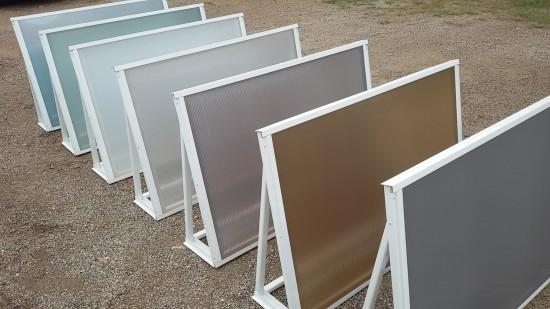 Chapa de Policarbonato Alveolar - multilux cores refletivas - difusão de luz - Perfis de aluminio pintura epóxi branco