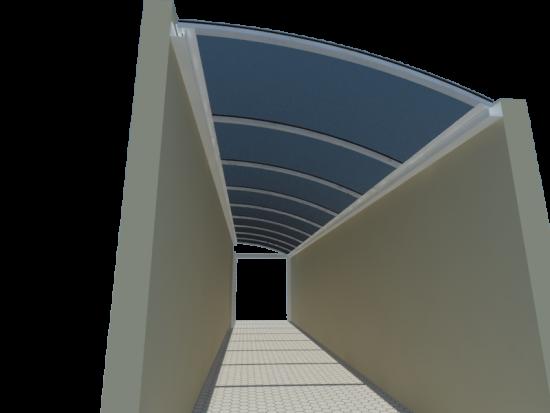 viga calha curva e Cobertura de Policarbonato Alveolar Translucido em Corredor Lateral de Prédio utilizando Perfil Calha PC 4412 em Aluminio