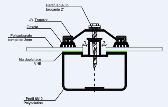 Perfil viga calha Ajustável com Perfil estrutural apoio 5512 - Polysolution