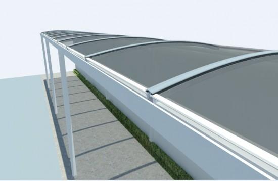 passarela em policarbonato curva com perfil estrutural PC 5512 i