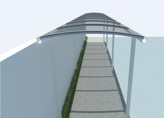 passarela em policarbonato curva com perfil estrutural PC 5512 lateral