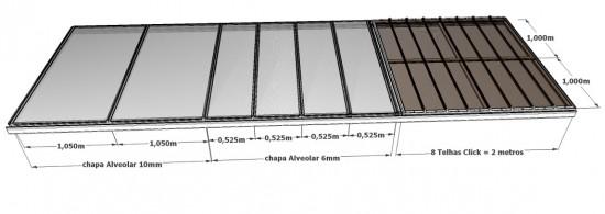 Comparação das chapas alveolar 6 e 10 mm com as telhas click - a escolha correta