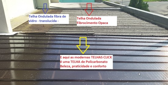 comparação de um telhado velho em substituição pelas telhas de Policarbonato click