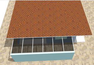 cobertura de Policarbonato 6 x 2 metros com alveolar 10 mm com perfis de aluminio PC4412 polysolution