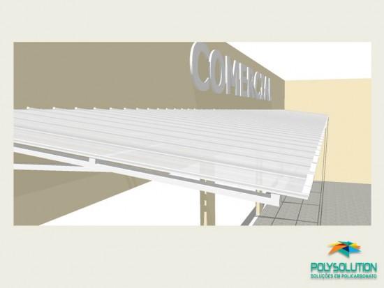 Toldo Comercial - 2,5 m - Cristal - Detalhes tecnicos do Projeto - Toldo de Policarbonato em comercio com as Telhas de Policarbonato CLICK cor cristal 15 x 3 metros