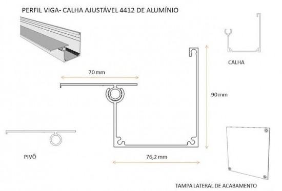 União entre dois ambientes com Perfil viga-calha PC 4412 e Perfil estrutural PC 5512 com chapas de Policarbonato com aplicação do Perfil Rufo em aluminio com gaxeta de EPDM 90 x 20 mm