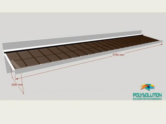 Toldo de Policarbonato Click pré pronto com perfil viga-calha PC4412 da Polysolution