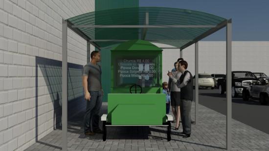 Cobertura de carrinho de alimnetos Food Truck em Telhas de Policarbonato click verde Translucida Polysolution