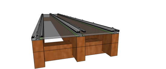 Perfil de Aluminio formato T para pergolado de madeira em cobertura de vidro e Policarbonato base com 50 mm Polysilution