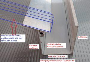 Perfil viga calha REF PC4412 em aluminio Estrutural Polysolution