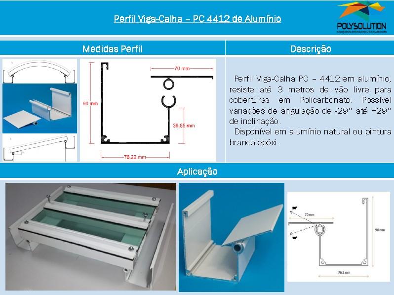 Linha de perfis de aluminio para Insalação de Policarbonato PC 4412 - 3 polegadas -Polysolution
