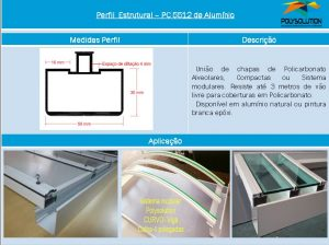 Linha de perfis de aluminio para Insalação de Policarbonato -Perfil PC 5512-Polysolution