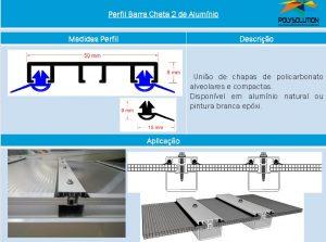 Linha de perfis para Instalação Policarbonato - Perfil Barra chata 2 -Polysolution