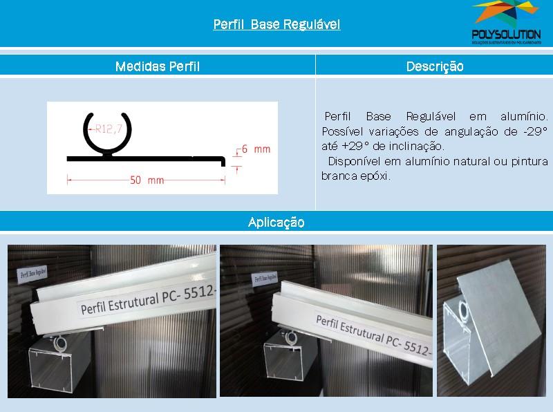 Linha de perfis para Instalação Policarbonato -Perfil Base regulável pivô -Polysolution