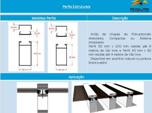 Linha de perfis para Instalação Policarbonato - Perfil Coluna 100x50mm-Polysolution