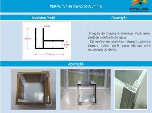 Linha de perfis para Instalação Policarbonato -Perfil U de canto 90º de 6 mm -Polysolution