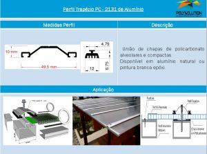 Linha de perfis para Instalação Policarbonato - Perfil trapézio PC2131-Polysolution