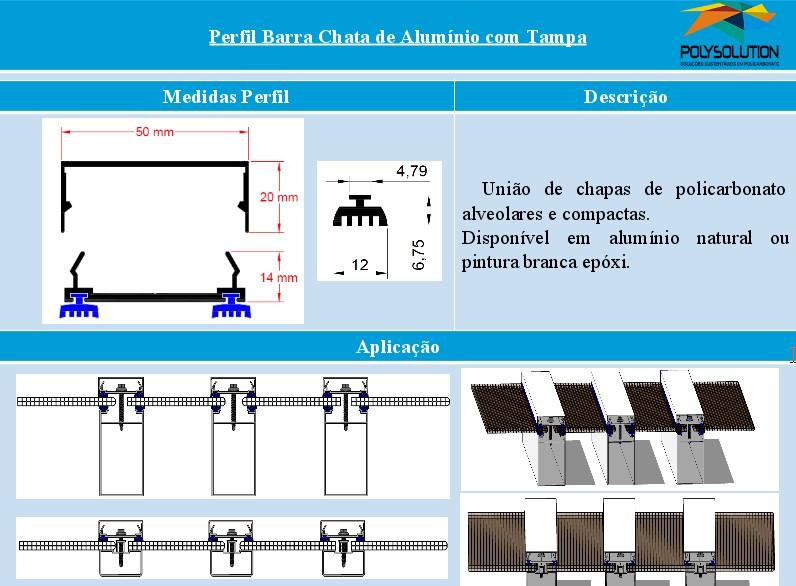 Linha de perfis para Instalação Policarbonato - barra chata com tampa clipe-Polysolution