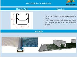 Linha de perfis para Instalação Policarbonato - conector quadrado M Painel -Polysolution