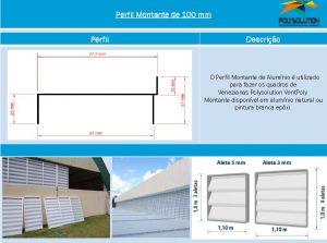 Linha de perfis para Instalação Veneziana -Perfil montante 100 mm -Polysolution