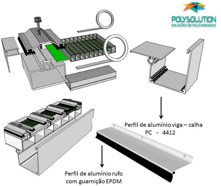 Cobertura de policarbonato com sistema modular viga calha - Perfil aluminio u ...