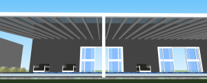 Instalação de uma cobertura de Vidro ou policarbonato Compacto com Perfil Estrutural Viga-CAlha PC4412 e Perfil Estrutural Fachada Cortina PC5512 - POlysolution