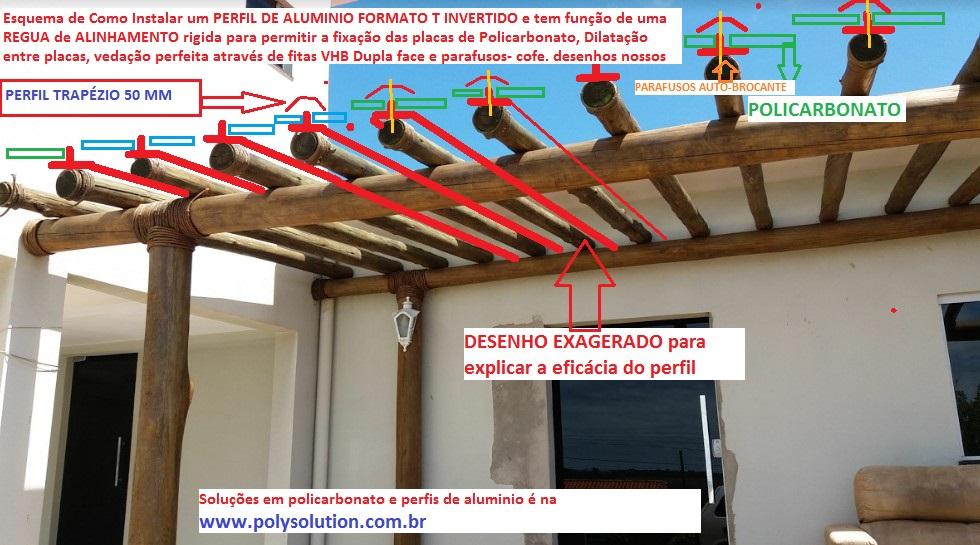 Cobertura de Policarbonato alveolar 10 mm com perfil de aluminio em Pergolado de Madeira Polysolution