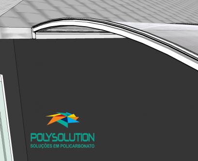 perfil estrutural PC5512 curvo e viga calha PC 4412 para Policarbonato Polysolution