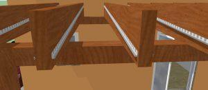 veja opçõesPerfil F encaixado na chapa de Policarbonato entre as pergolas de madeira inclinação interna criada para manter a aparencia do PERGOLADO DE MADEIRA